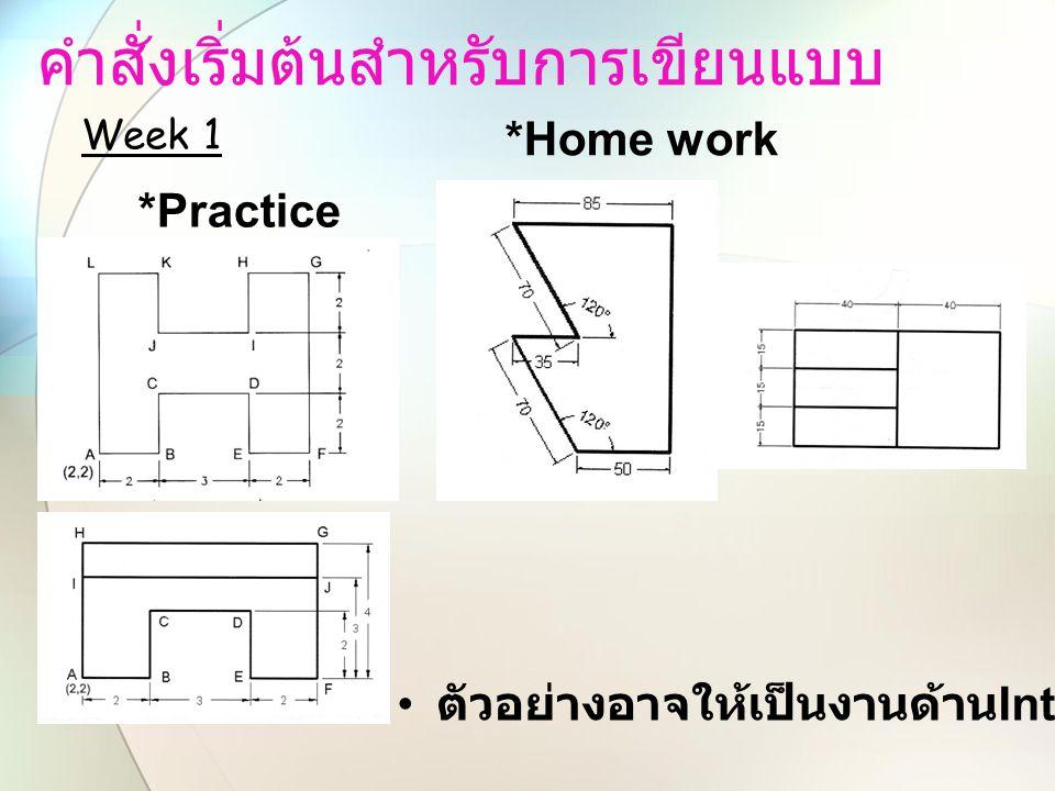 คำสั่งเริ่มต้นสำหรับการเขียนแบบ *Practice Week 1 *Home work ตัวอย่างอาจให้เป็นงานด้าน Interior
