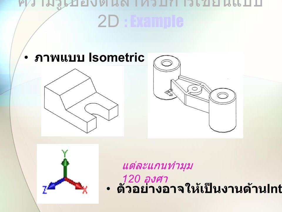 ภาพแบบ Isometric ความรู้เบื้องต้นสำหรับการเขียนแบบ 2 D : Example แต่ละแกนทำมุม 120 องศา ตัวอย่างอาจให้เป็นงานด้าน Interior