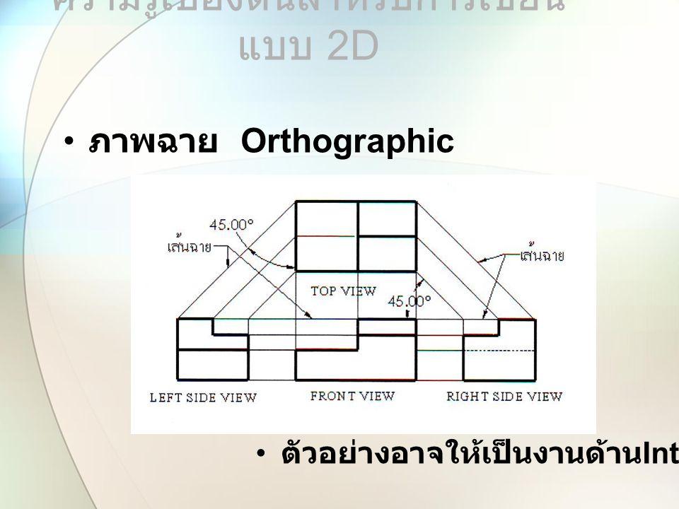ความรู้เบื้องต้นสำหรับการเขียน แบบ 2 D ภาพฉาย Orthographic ตัวอย่างอาจให้เป็นงานด้าน Interior