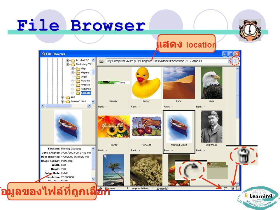 File Browser แสดง location ข้อมูลของไฟล์ที่ถูกเลือก
