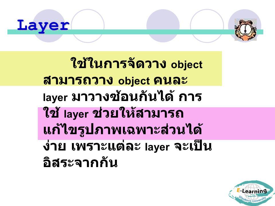 Layer ใช้ในการจัดวาง object สามารถวาง object คนละ layer มาวางซ้อนกันได้ การ ใช้ layer ช่วยให้สามารถ แก้ไขรูปภาพเฉพาะส่วนได้ ง่าย เพราะแต่ละ layer จะเป