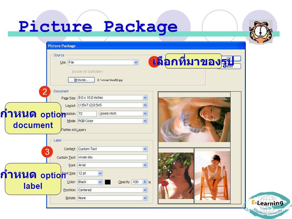 Picture Package 1 3 2 เลือกที่มาของรูป กำหนด option document กำหนด option label