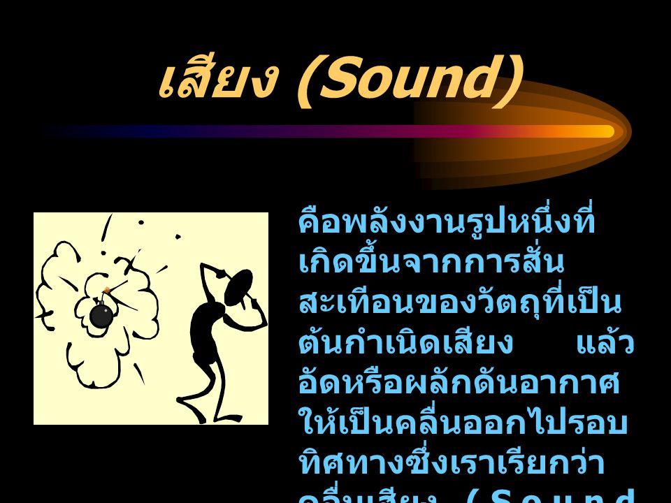 เสียง (Sound) คือพลังงานรูปหนึ่งที่ เกิดขึ้นจากการสั่น สะเทีอนของวัตถุที่เป็น ต้นกำเนิดเสียง แล้ว อัดหรือผลักดันอากาศ ให้เป็นคลื่นออกไปรอบ ทิศทางซึ่งเ