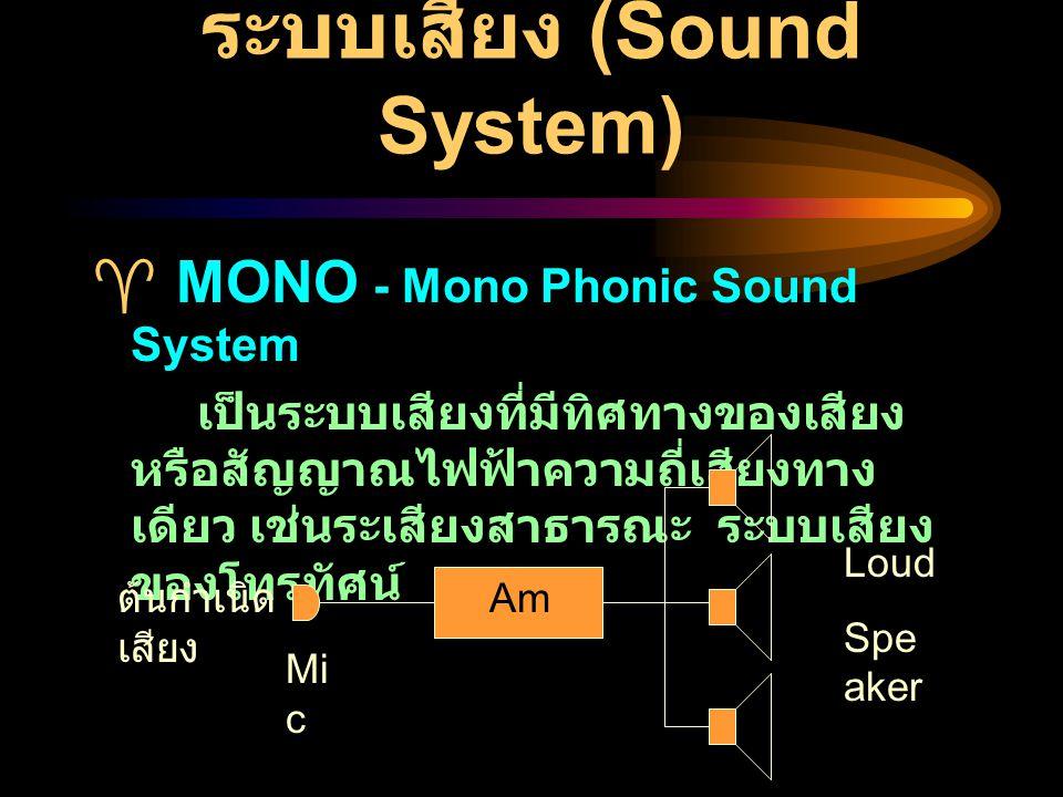 STEREO - Stereo Phonic Sound System เป็นระบบเสียงที่มีทิศทางของเสียง หรือสัญญาณไฟฟ้าความถี่เสียงตั้งแต่ สองทิศทางขึ้นไป อาจเป็นสามทาง สี่ทาง หรือมากกว่า ต้น กำเนิด เสียง 1 Mi c Am p.