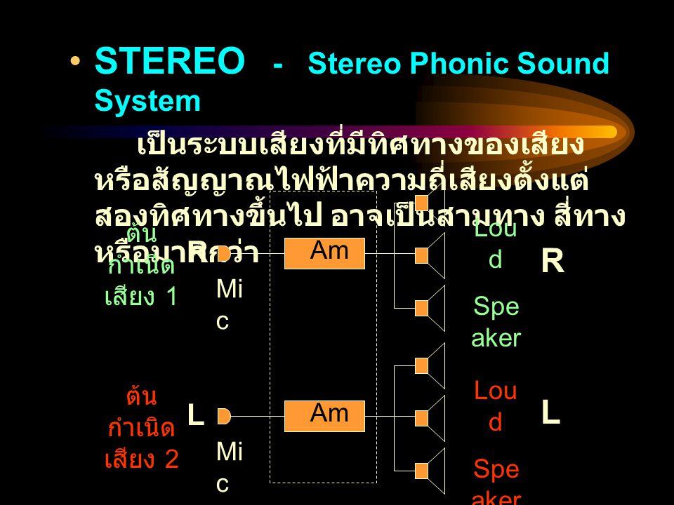 STEREO - Stereo Phonic Sound System เป็นระบบเสียงที่มีทิศทางของเสียง หรือสัญญาณไฟฟ้าความถี่เสียงตั้งแต่ สองทิศทางขึ้นไป อาจเป็นสามทาง สี่ทาง หรือมากกว