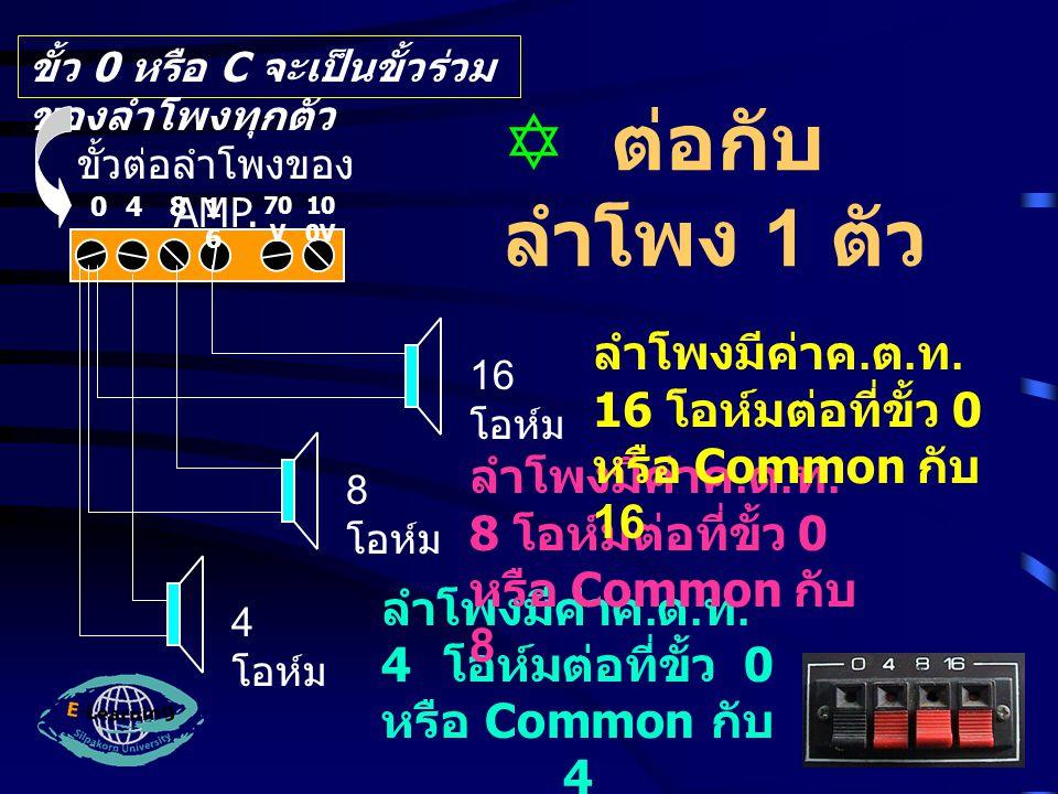  ต่อกับ ลำโพง 1 ตัว 0481616 70 V 10 0V ขั้วต่อลำโพงของ AMP.