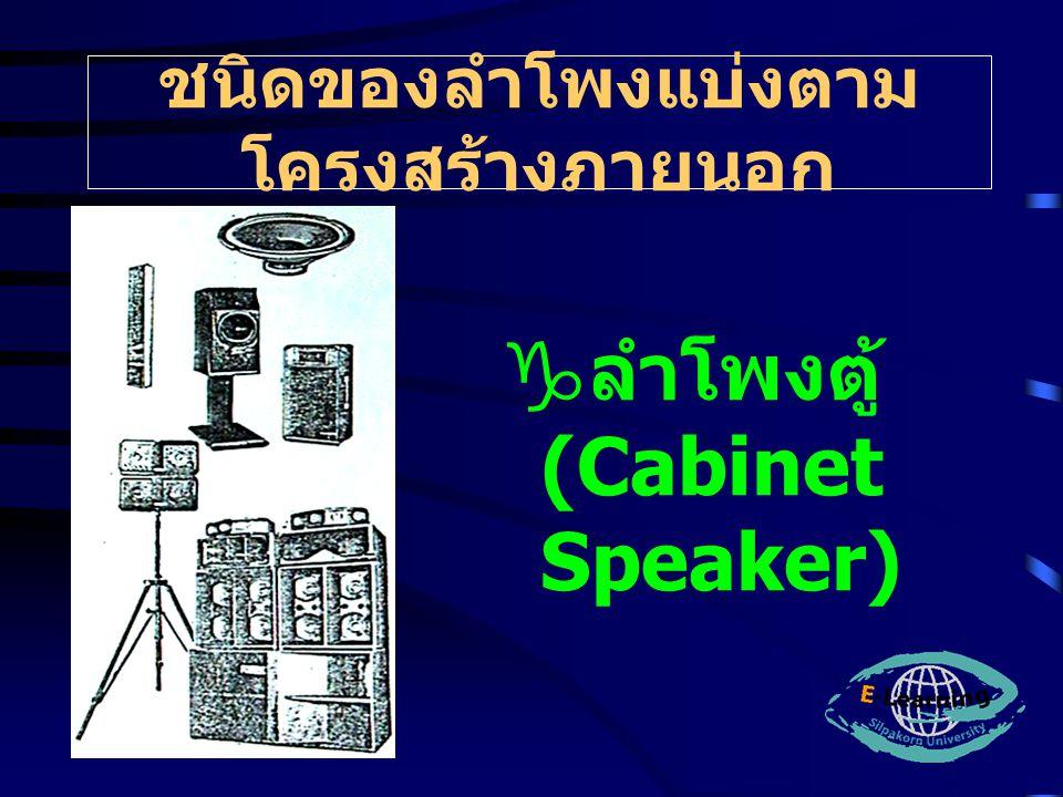 ชนิดของลำโพงแบ่งตาม โครงสร้างภายนอก  ลำโพงตู้ (Cabinet Speaker)