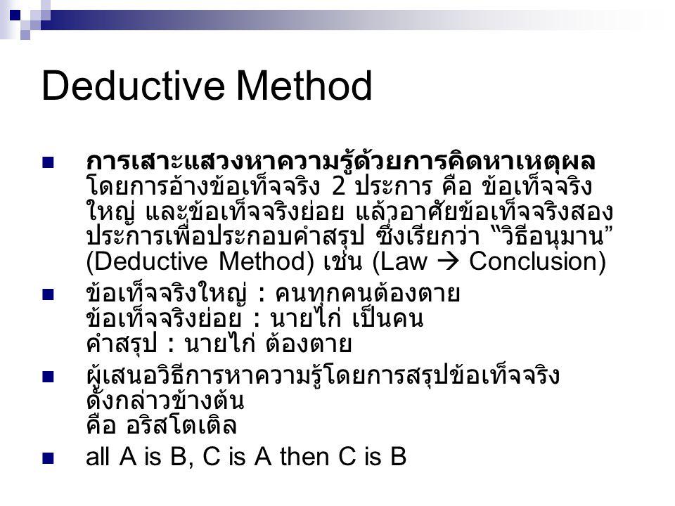 Deductive Method การเสาะแสวงหาความรู้ด้วยการคิดหาเหตุผล โดยการอ้างข้อเท็จจริง 2 ประการ คือ ข้อเท็จจริง ใหญ่ และข้อเท็จจริงย่อย แล้วอาศัยข้อเท็จจริงสอง ประการเพื่อประกอบคำสรุป ซึ่งเรียกว่า วิธีอนุมาน (Deductive Method) เช่น (Law  Conclusion) ข้อเท็จจริงใหญ่ : คนทุกคนต้องตาย ข้อเท็จจริงย่อย : นายไก่ เป็นคน คำสรุป : นายไก่ ต้องตาย ผู้เสนอวิธีการหาความรู้โดยการสรุปข้อเท็จจริง ดังกล่าวข้างต้น คือ อริสโตเติล all A is B, C is A then C is B