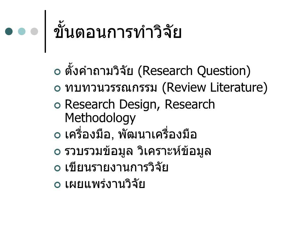 ขั้นตอนการทำวิจัย ตั้งคำถามวิจัย (Research Question) ทบทวนวรรณกรรม (Review Literature) Research Design, Research Methodology เครื่องมือ, พัฒนา เครื่อง