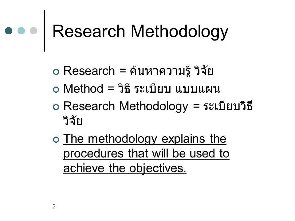 2 Research Methodology Research = ค้นหาความรู้ วิจัย Method = วิธี ระเบียบ แบบแผน Research Methodology = ระเบียบวิธี วิจัย The methodology explains th