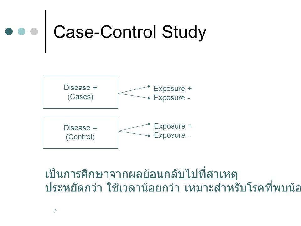 7 Case-Control Study Disease + (Cases) Disease – (Control) Exposure + Exposure - Exposure + Exposure - เป็นการศึกษาจากผลย้อนกลับไปที่สาเหตุ ประหยัดกว่า ใช้เวลาน้อยกว่า เหมาะสำหรับโรคที่พบน้อย