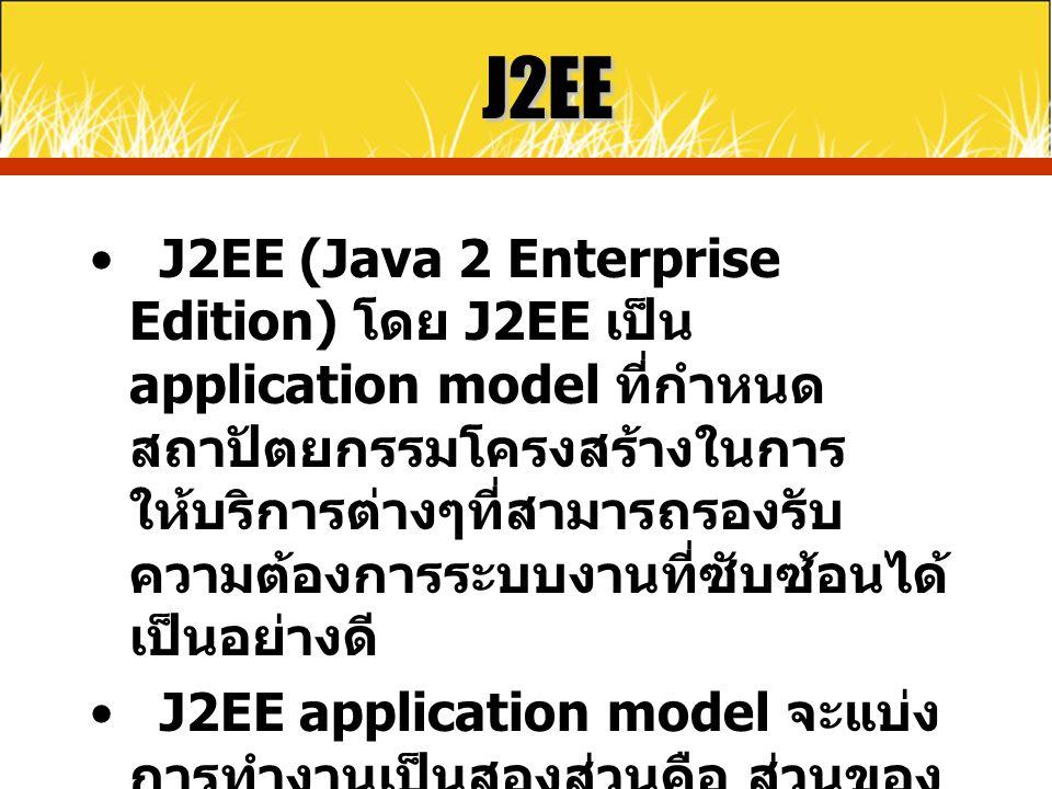 J2EE J2EE (Java 2 Enterprise Edition) โดย J2EE เป็น application model ที่กำหนด สถาปัตยกรรมโครงสร้างในการ ให้บริการต่างๆที่สามารถรองรับ ความต้องการระบบ