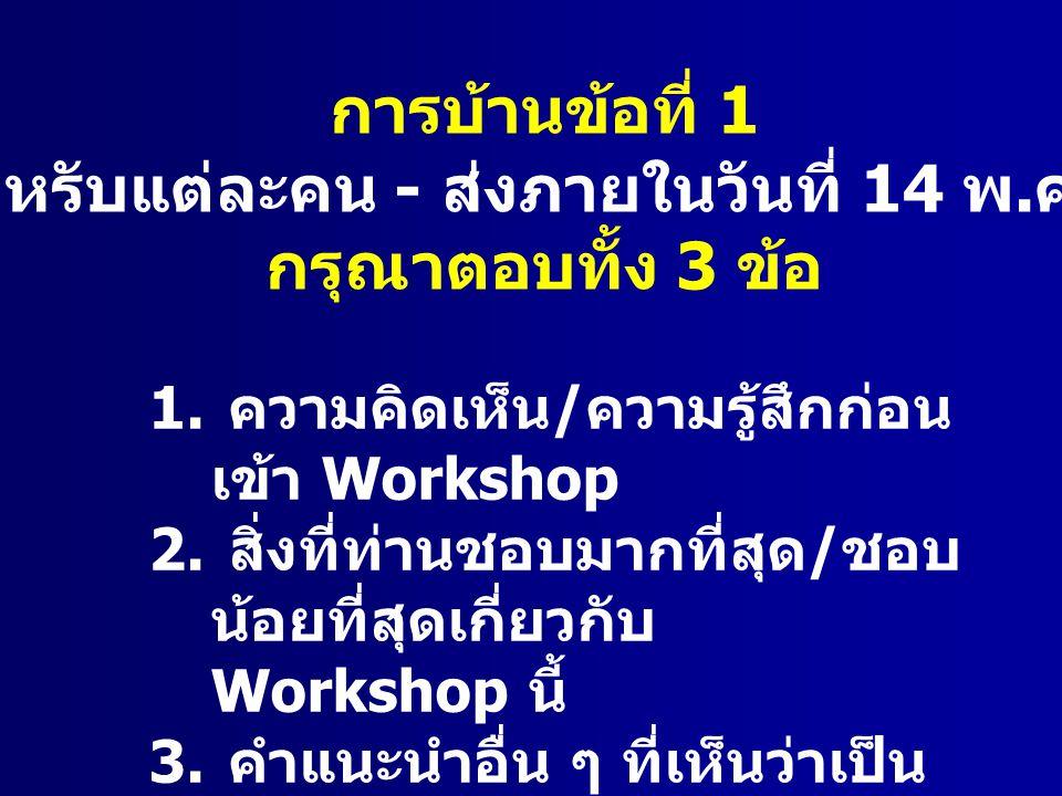 การบ้านข้อที่ 1 ( สำหรับแต่ละคน - ส่งภายในวันที่ 14 พ. ค. นี้ ) กรุณาตอบทั้ง 3 ข้อ 1. ความคิดเห็น / ความรู้สึกก่อน เข้า Workshop 2. สิ่งที่ท่านชอบมากท