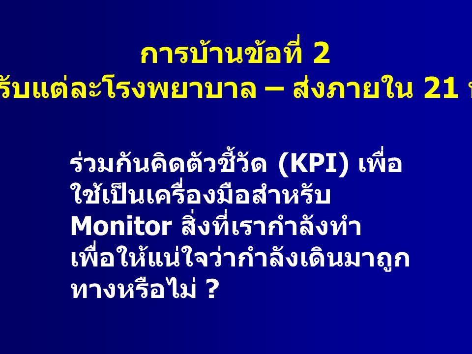 การบ้านข้อที่ 2 ( สำหรับแต่ละโรงพยาบาล – ส่งภายใน 21 พ. ค.) ร่วมกันคิดตัวชี้วัด (KPI) เพื่อ ใช้เป็นเครื่องมือสำหรับ Monitor สิ่งที่เรากำลังทำ เพื่อให้