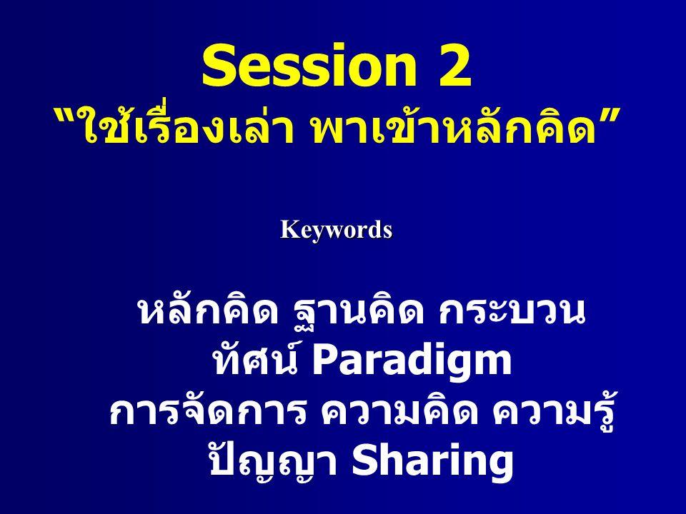 Session 2 ใช้เรื่องเล่า พาเข้าหลักคิด หลักคิด ฐานคิด กระบวน ทัศน์ Paradigm การจัดการ ความคิด ความรู้ ปัญญา Sharing Keywords