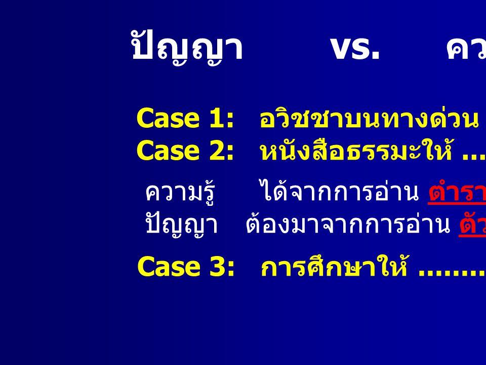ปัญญา vs.ความรู้ Case 1: อวิชชาบนทางด่วน Case 2: หนังสือธรรมะให้........