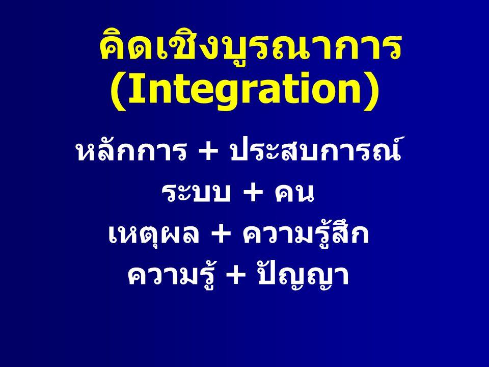 หลักการ + ประสบการณ์ ระบบ + คน เหตุผล + ความรู้สึก ความรู้ + ปัญญา คิดเชิงบูรณาการ (Integration)