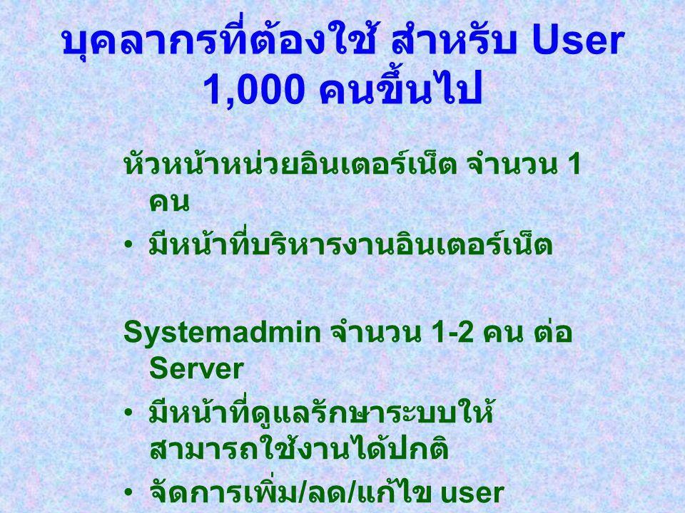 บุคลากรที่ต้องใช้ สำหรับ User 1,000 คนขึ้นไป หัวหน้าหน่วยอินเตอร์เน็ต จำนวน 1 คน มีหน้าที่บริหารงานอินเตอร์เน็ต Systemadmin จำนวน 1-2 คน ต่อ Server มี