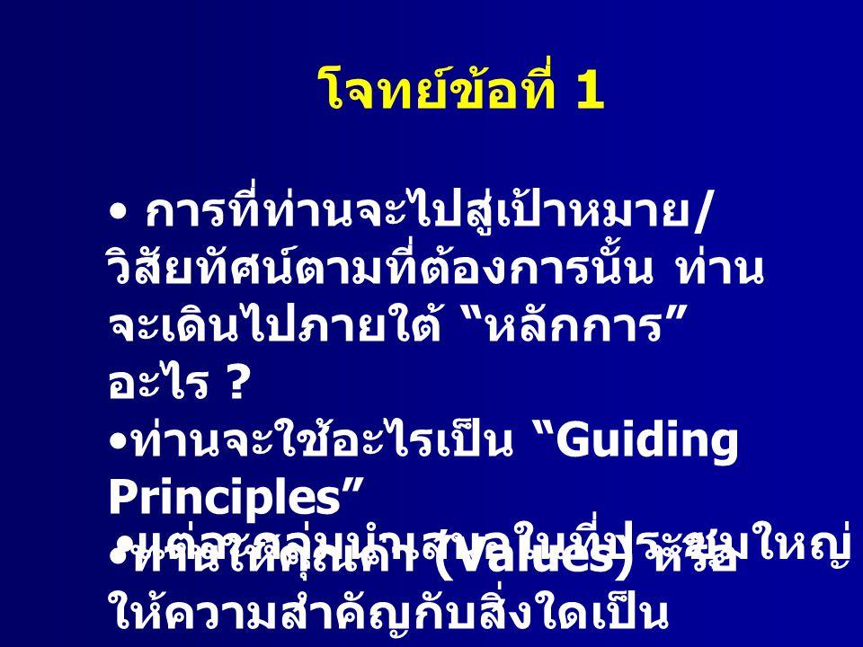 """โจทย์ข้อที่ 1 การที่ท่านจะไปสู่เป้าหมาย / วิสัยทัศน์ตามที่ต้องการนั้น ท่าน จะเดินไปภายใต้ """" หลักการ """" อะไร ? ท่านจะใช้อะไรเป็น """"Guiding Principles"""" ท่"""