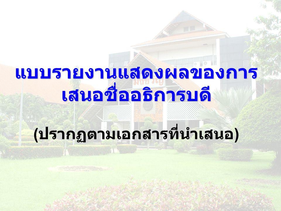 แบบรายงานแสดงผลของการ เสนอชื่ออธิการบดี แบบรายงานแสดงผลของการ เสนอชื่ออธิการบดี ( ปรากฏตามเอกสารที่นำเสนอ )