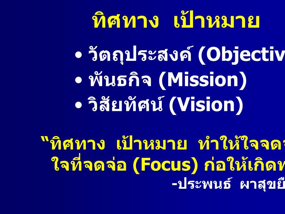 """ทิศทาง เป้าหมาย วัตถุประสงค์ (Objective) พันธกิจ (Mission) วิสัยทัศน์ (Vision) """" ทิศทาง เป้าหมาย ทำให้ใจจดจ่อ ใจที่จดจ่อ (Focus) ก่อให้เกิดพลัง """" - ปร"""