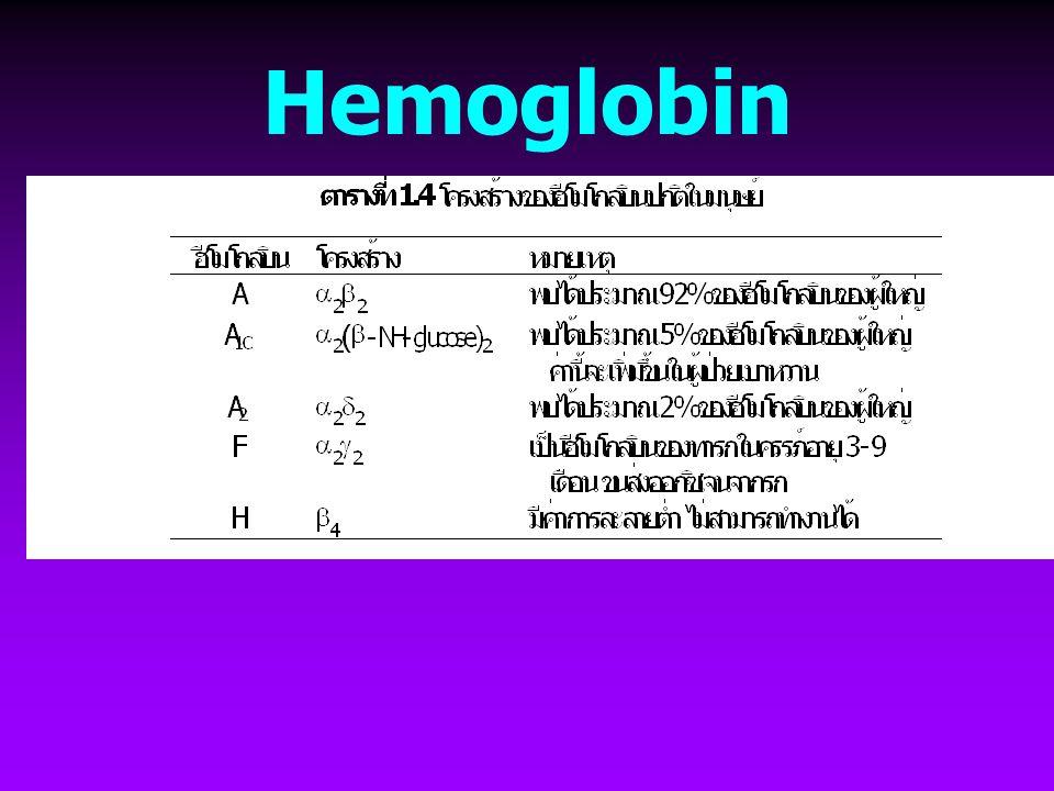 Hemoglobin ขนส่งออกซิเจนจากปอด --> เนื้อเยื่อ ขนส่ง CO 2 และ H + จากเนื้อเยื่อ --> ปอด Globular protein:  2 subunits +  2 subunits  subunit (141 aa