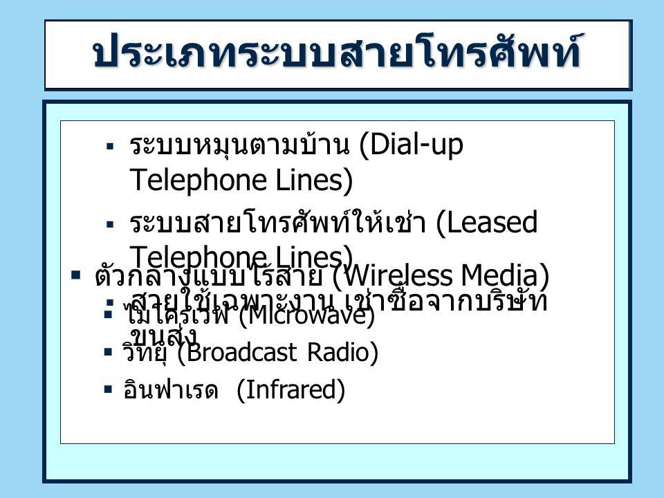 ประเภทระบบสายโทรศัพท์  ระบบหมุนตามบ้าน (Dial-up Telephone Lines)  ระบบสายโทรศัพท์ให้เช่า (Leased Telephone Lines)  สายใช้เฉพาะงาน เช่าซื้อจากบริษัท ขนส่ง  ตัวกลางแบบไร้สาย (Wireless Media)  ไมโครเวฟ (Microwave)  วิทยุ (Broadcast Radio)  อินฟาเรด (Infrared)