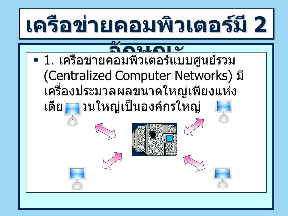 เครือข่ายคอมพิวเตอร์มี 2 ลักษณะ  1.