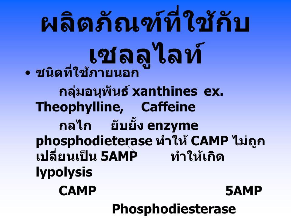 ผลิตภัณฑ์ที่ใช้กับ เซลลูไลท์ ชนิดที่ใช้ภายนอก กลุ่มอนุพันธ์ xanthines ex. Theophylline,Caffeine กลไก ยับยั้ง enzyme phosphodieterase ทำให้ CAMP ไม่ถูก