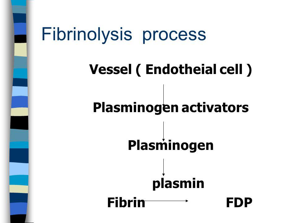 Fibrinolysis process Vessel ( Endotheial cell ) Plasminogen activators Plasminogen plasmin Fibrin FDP