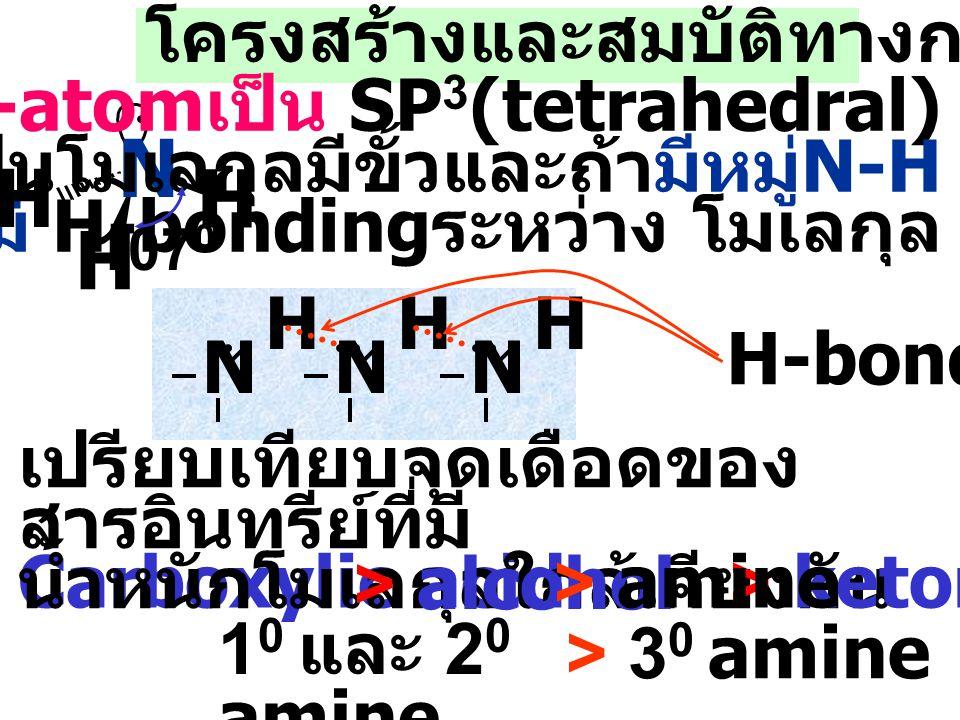 Amine ที่พบธรรมชาติ R=H, Morphine ( ดอกฝิ่น ยาแก้ปวด ) R=CH 3, Codeine ( ยาแก้ไอ ) Caffeine ( กาแฟ, น้ำอัดลม ) Nicotine ( ใบยาสูบ )