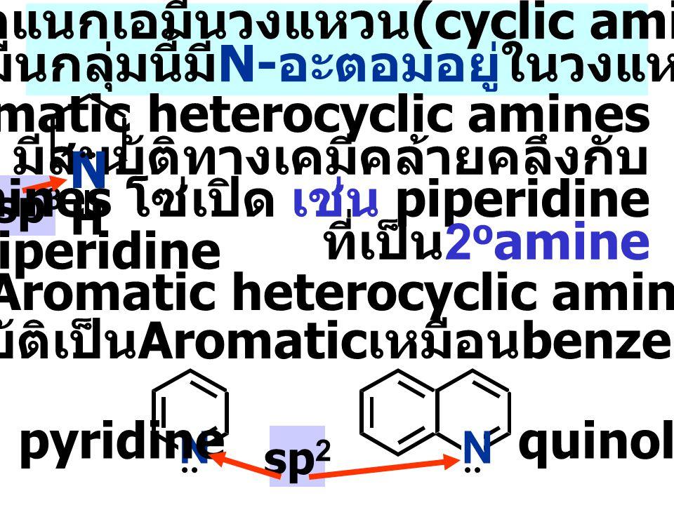 Aliphatic amines N- อะตอมต่อกับหมู่ alkyl ตัวอย่าง 1 o Aliphatic amines เช่น n-butylamine Aromatic amines มีหมู่ aryl อย่างน้อย 1 หมู่ต่อกับ N- อะตอม ตัวอย่าง 1 o Aromatic amines เช่น aniline CH 3 CH 2 CH 2 CH 2 -NH 2 n-butylamine NH2NH2 aniline การจำแนก Amines ตามชนิดของหมู่ R- หรือ Ar- ที่ เกาะกับ N -atom