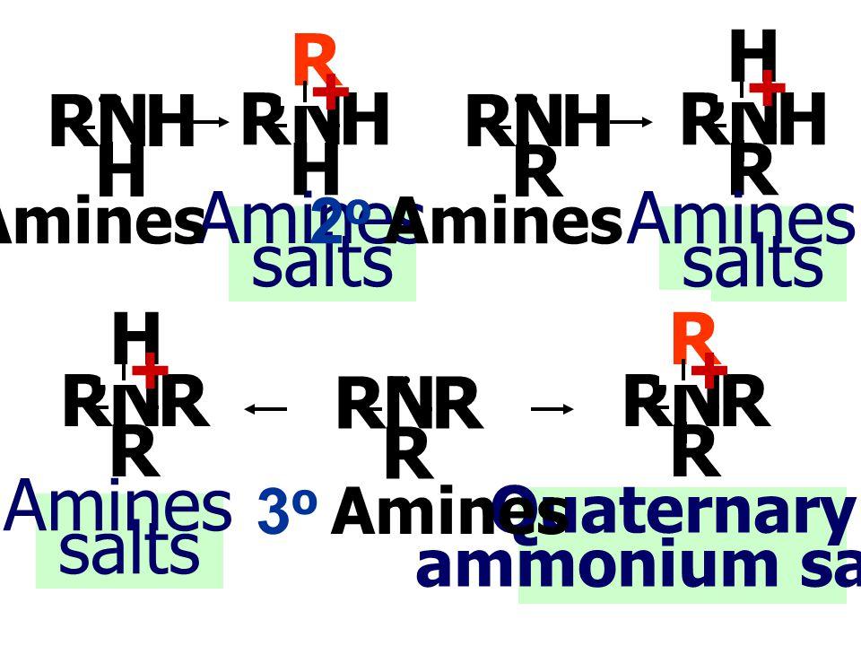 Ammonium salts เป็น เกลือของ Amines ที่เกิดจาก N-atom ของ 1 o หรือ 2 o หรือ 3 o Amines ใช้ lone pair e - สร้างพันธะกับ H + การจำแนกเกลือ ของเอมีน Quaternary ammonium salts เป็นเกลือ ของ Amines ที่เกิดจาก N-atom ของ 3 o Amines ใช้ lone pair e- สร้างพันธะกับ R + เอมีนเกิดปฏิกิริยาให้เกลือได้ 2 ชนิด