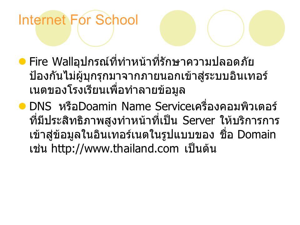 Internet For School Fire Wall อุปกรณ์ที่ทำหน้าที่รักษาความปลอดภัย ป้องกันไม่ผู้บุกรุกมาจากภายนอกเข้าสู่ระบบอินเทอร์ เนตของโรงเรียนเพื่อทำลายข้อมูล DNS