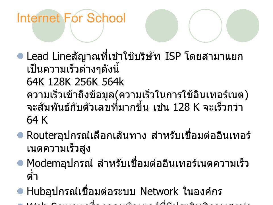 Internet For School Lead Line สัญาณที่เช่าใช้บริษัท ISP โดยสามาแยก เป็นความเร็วต่างๆดังนี้ 64K 128K 256K 564k ความเร็วเข้าถึงข้อมูล ( ความเร็วในการใช้อินเทอร์เนต ) จะสัมพันธ์กับตัวเลขที่มากขึ้น เช่น 128 K จะเร็วกว่า 64 K Router อุปกรณ์เลือกเส้นทาง สำหรับเชื่อมต่ออินเทอร์ เนตความเร็วสูง Modem อุปกรณ์ สำหรับเชื่อมต่ออินเทอร์เนตความเร็ว ต่ำ Hub อุปกรณ์เชื่อมต่อระบบ Network ในองค์กร Web Server เครื่องคอมพิวเตอร์ที่มีประสิทธิภาพสูงทำ หน้าที่เป็น Server ให้บริการ World Wide Web (WWW) หรือที่รู้จักกัน Homepage