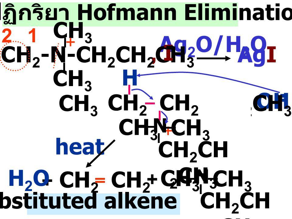R 4 N + X - Ag 2 O/H 2 O R 4 N + OH - + Ag + + X - heat less substituted alkene + amine CH 3 CH 2 -N-CH 2 CH 2 CH 3 CH 3 +, I, I - 1. Ag 2 O/H 2 O 2.h