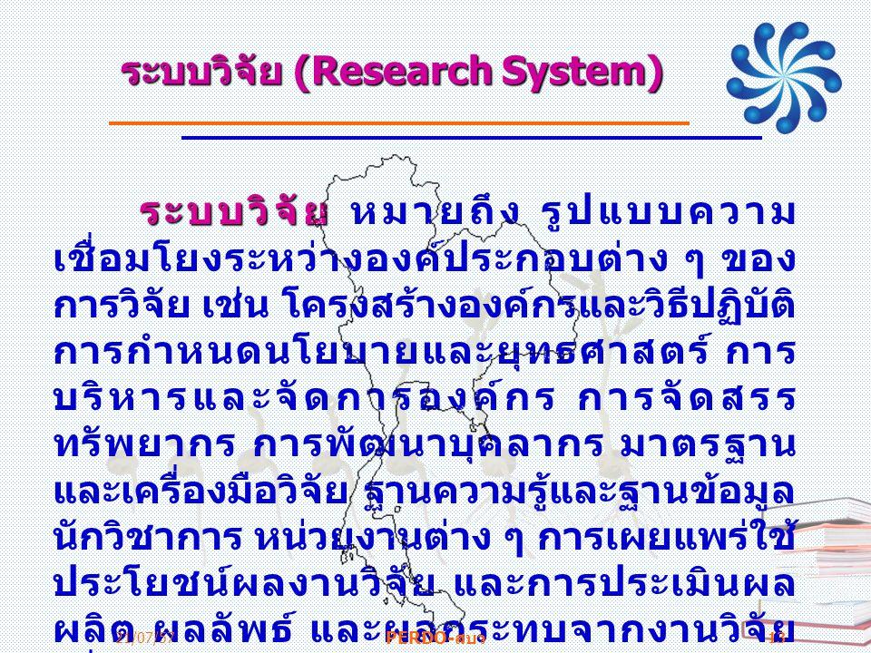 ระบบวิจัย (Research System) ระบบวิจัย ระบบวิจัย หมายถึง รูปแบบความ เชื่อมโยงระหว่างองค์ประกอบต่าง ๆ ของ การวิจัย เช่น โครงสร้างองค์กรและวิธีปฏิบัติ กา