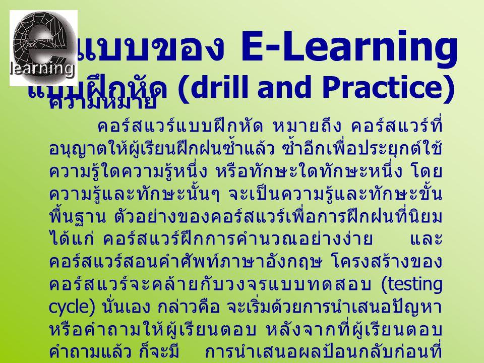 ความหมาย คอร์สแวร์แบบฝึกหัด หมายถึง คอร์สแวร์ที่ อนุญาตให้ผู้เรียนฝึกฝนซ้ำแล้ว ซ้ำอีกเพื่อประยุกต์ใช้ ความรู้ใดความรู้หนึ่ง หรือทักษะใดทักษะหนึ่ง โดย