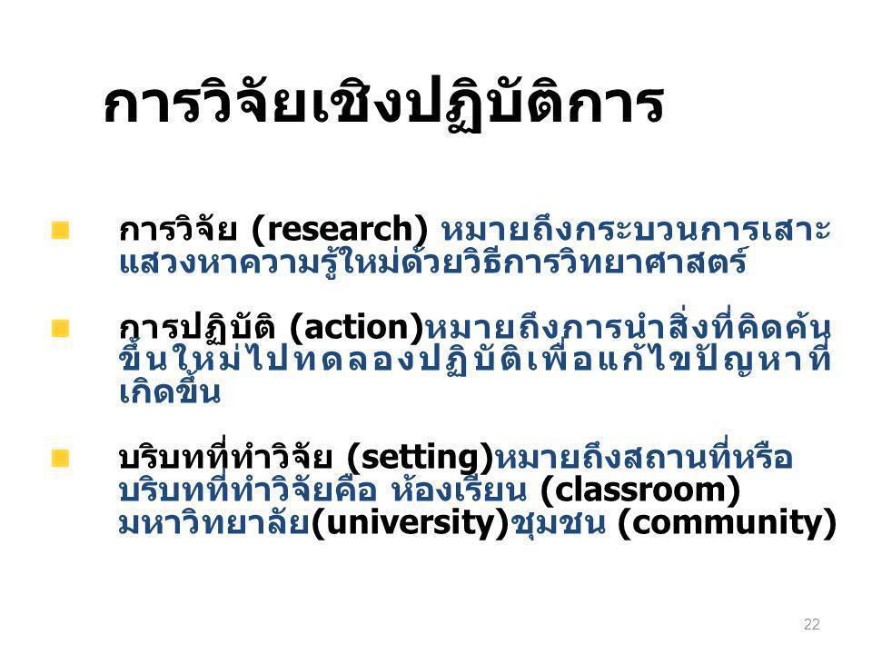 การวิจัย (research) หมายถึงกระบวนการเสาะ แสวงหาความรู้ใหม่ด้วยวิธีการวิทยาศาสตร์ การปฏิบัติ (action)หมายถึงการนำสิ่งที่คิดค้น ขึ้นใหม่ไปทดลองปฏิบัติเพ