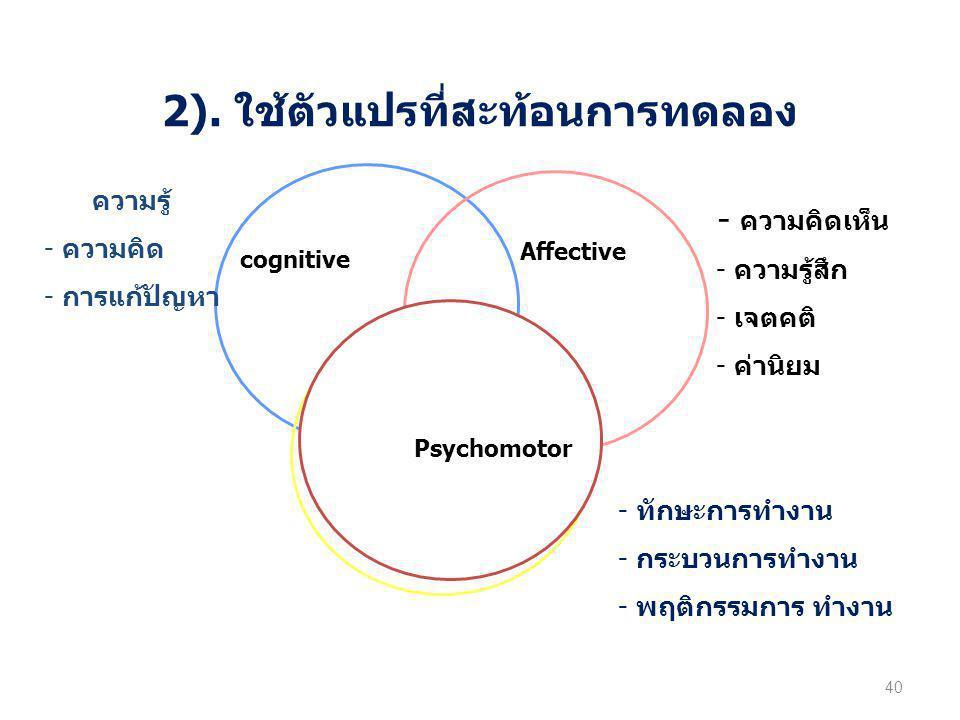 2). ใช้ตัวแปรที่สะท้อนการทดลอง 40 cognitive Affective Psychomotor - ความคิดเห็น - ความรู้สึก - เจตคติ - ค่านิยม - ทักษะการทำงาน - กระบวนการทำงาน - พฤต