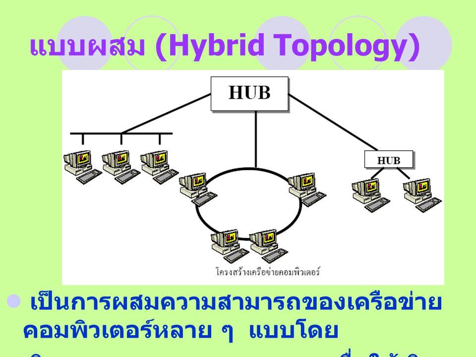 แบบผสม (Hybrid Topology) เป็นการผสมความสามารถของเครือข่าย คอมพิวเตอร์หลาย ๆ แบบโดย พิจารณาตามความเหมาะสม เพื่อให้เกิด ประสิทธิภาพในการทำงานสูงสุด