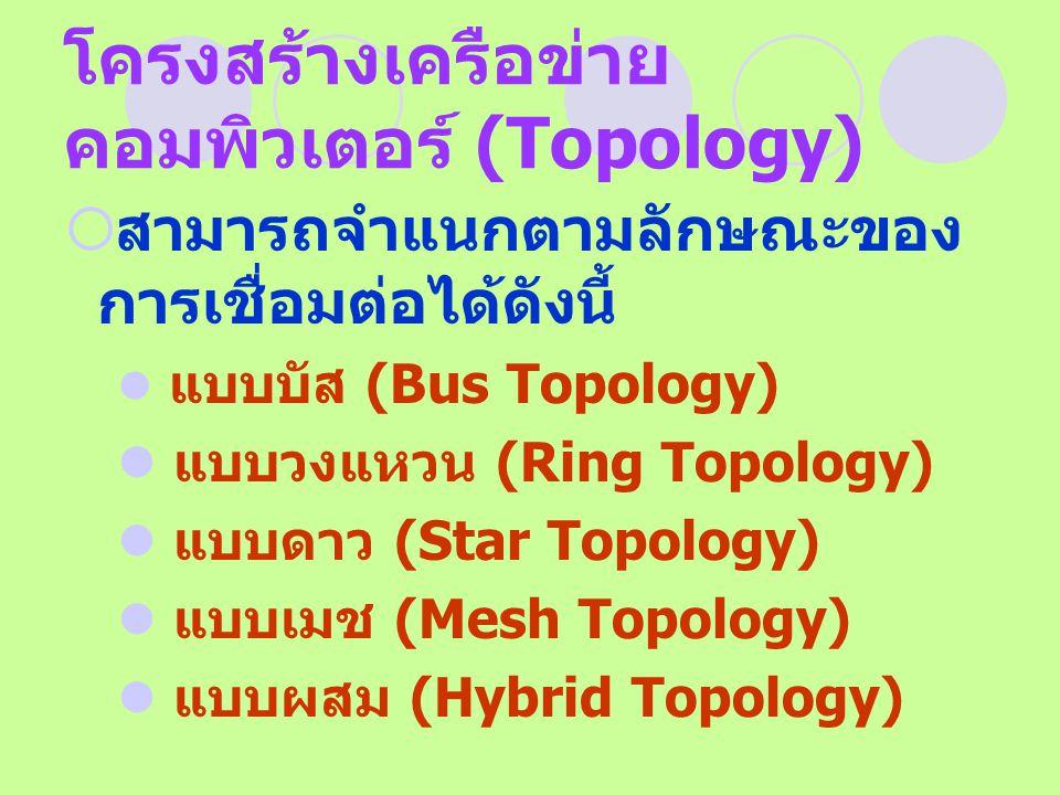 โครงสร้างเครือข่าย คอมพิวเตอร์ (Topology)  สามารถจำแนกตามลักษณะของ การเชื่อมต่อได้ดังนี้ แบบบัส (Bus Topology) แบบวงแหวน (Ring Topology) แบบดาว (Star
