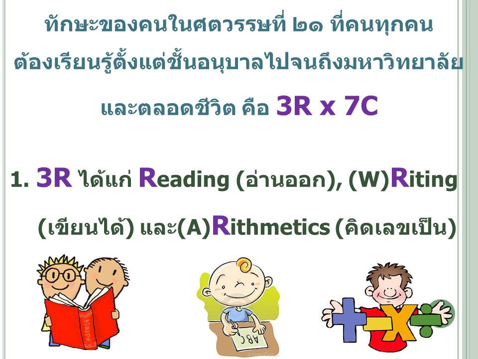 ทักษะของคนในศตวรรษที่ ๒๑ ที่คนทุกคน ต้องเรียนรู้ตั้งแต่ชั้นอนุบาลไปจนถึงมหาวิทยาลัย และตลอดชีวิต คือ 3R x 7C 1. 3R ได้แก่ R eading (อ่านออก), (W) R it