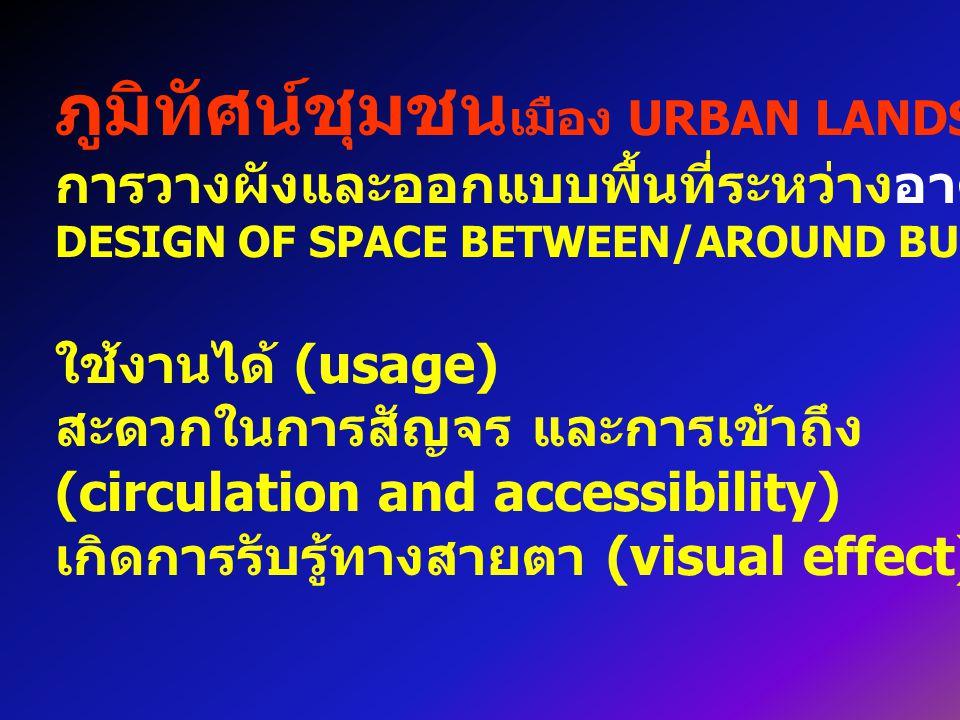 ภูมิทัศน์ชุมชน เมือง URBAN LANDSCAPE การวางผังและออกแบบพื้นที่ระหว่างอาคาร / รอบอาคาร DESIGN OF SPACE BETWEEN/AROUND BUILDINGS ใช้งานได้ (usage) สะดวกในการสัญจร และการเข้าถึง (circulation and accessibility) เกิดการรับรู้ทางสายตา (visual effect) ความสวยงาม