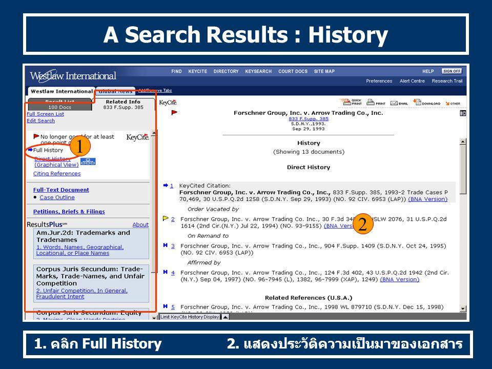 A Search Results : History 1 2 1. คลิก Full History2. แสดงประวัติความเป็นมาของเอกสาร