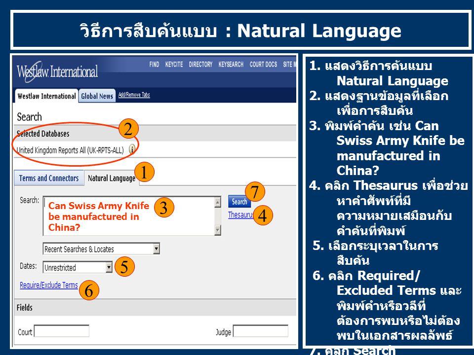 วิธีการสืบค้นแบบ : Natural Language 1 1. แสดงวิธีการค้นแบบ Natural Language 2. แสดงฐานข้อมูลที่เลือก เพื่อการสืบค้น 3. พิมพ์คำค้น เช่น Can Swiss Army
