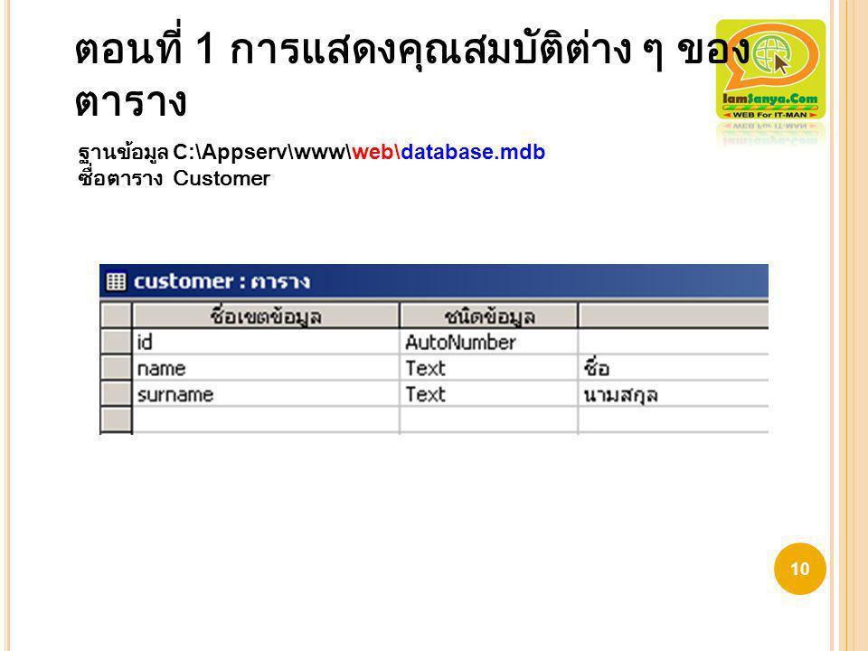 ตอนที่ 1 การแสดงคุณสมบัติต่าง ๆ ของ ตาราง 10 ฐานข้อมูล C:\Appserv\www\web\database.mdb ซื่อตาราง Customer