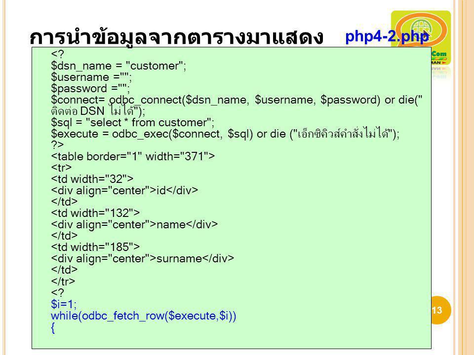 id name surname <? $i=1; while(odbc_fetch_row($execute,$i)) { 13 การนำข้อมูลจากตารางมาแสดง php4-2.php