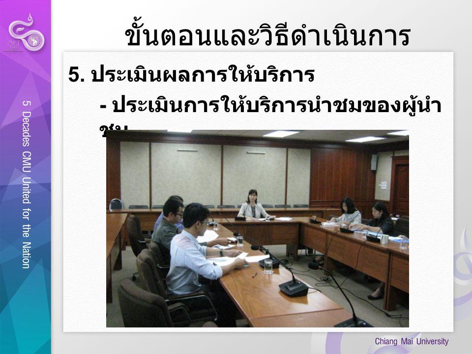 ขั้นตอนและวิธีดำเนินการ 5. ประเมินผลการให้บริการ - ประเมินการให้บริการนำชมของผู้นำ ชม