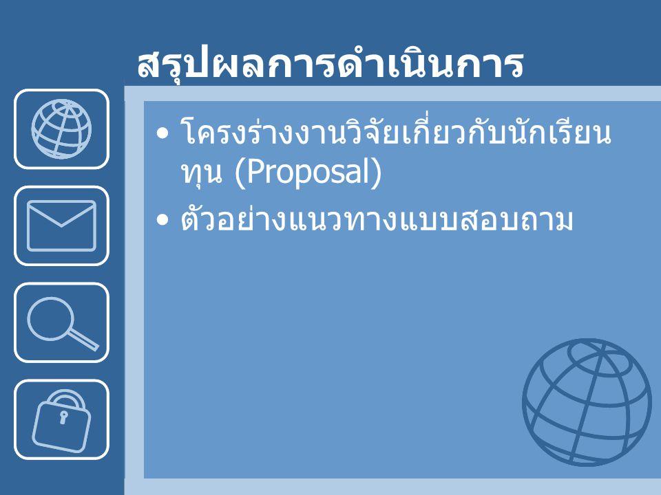 สรุปผลการดำเนินการ โครงร่างงานวิจัยเกี่ยวกับนักเรียน ทุน (Proposal) ตัวอย่างแนวทางแบบสอบถาม